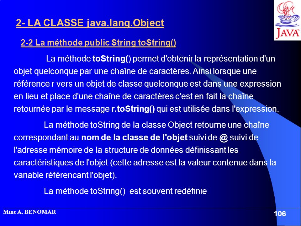 2-2 La méthode public String toString()