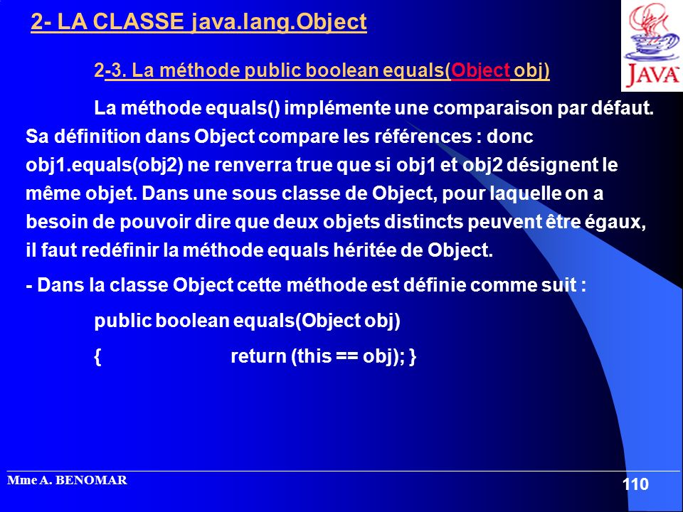 2-3. La méthode public boolean equals(Object obj)
