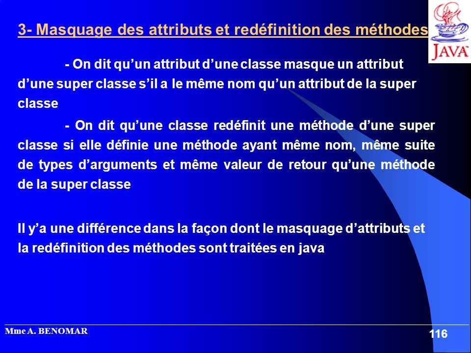 3- Masquage des attributs et redéfinition des méthodes