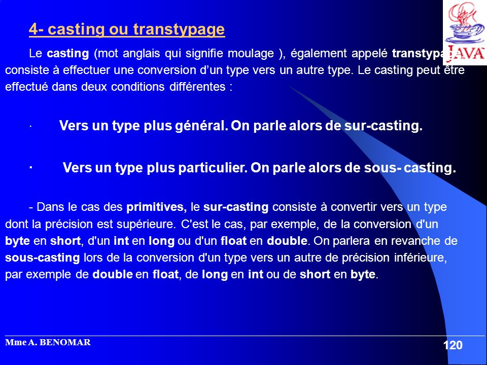 4- casting ou transtypage