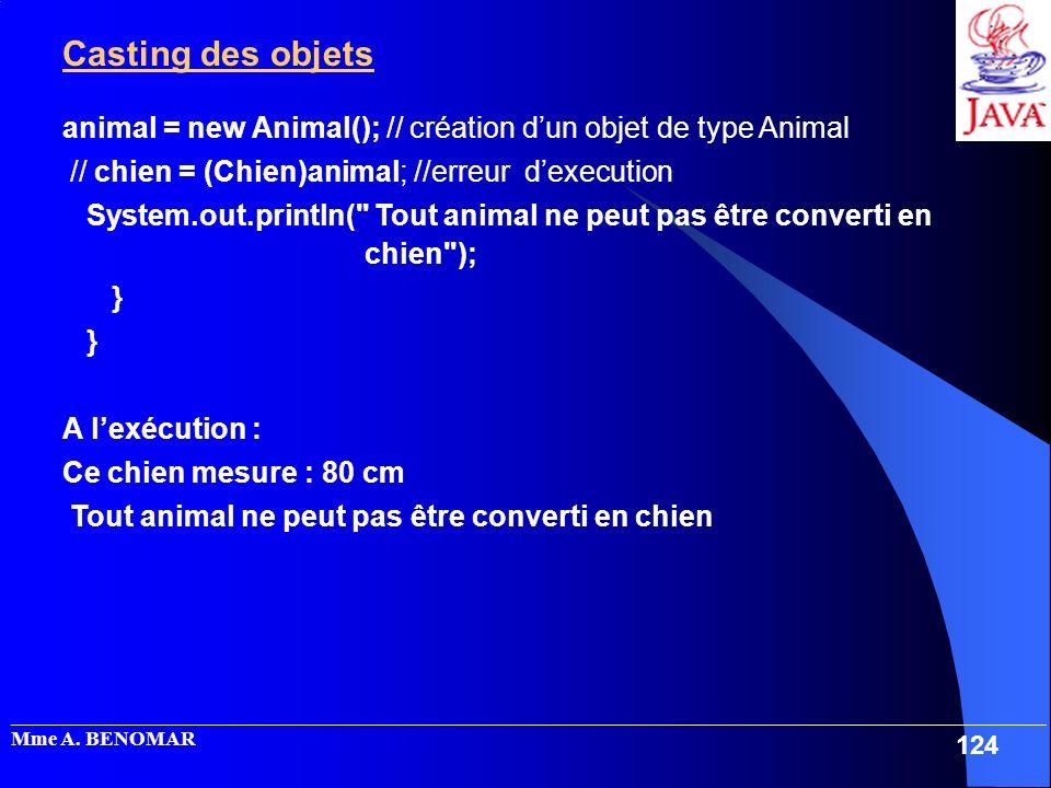 Casting des objets animal = new Animal(); // création d'un objet de type Animal. // chien = (Chien)animal; //erreur d'execution.