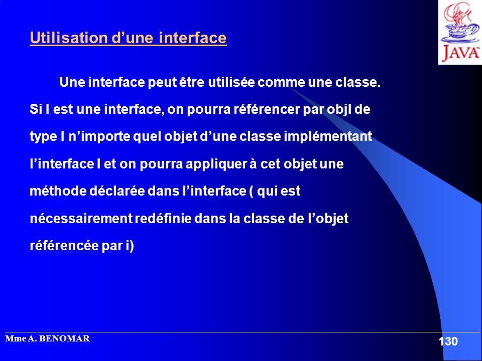 Utilisation d'une interface