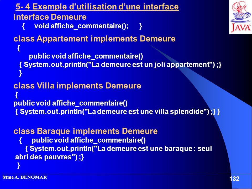 5- 4 Exemple d'utilisation d'une interface interface Demeure