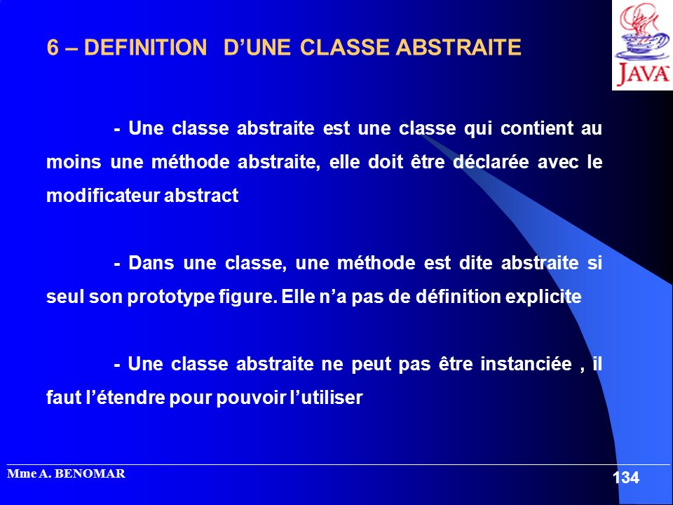 6 – DEFINITION D'UNE CLASSE ABSTRAITE