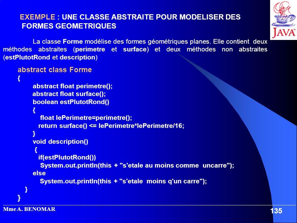 EXEMPLE : UNE CLASSE ABSTRAITE POUR MODELISER DES FORMES GEOMETRIQUES