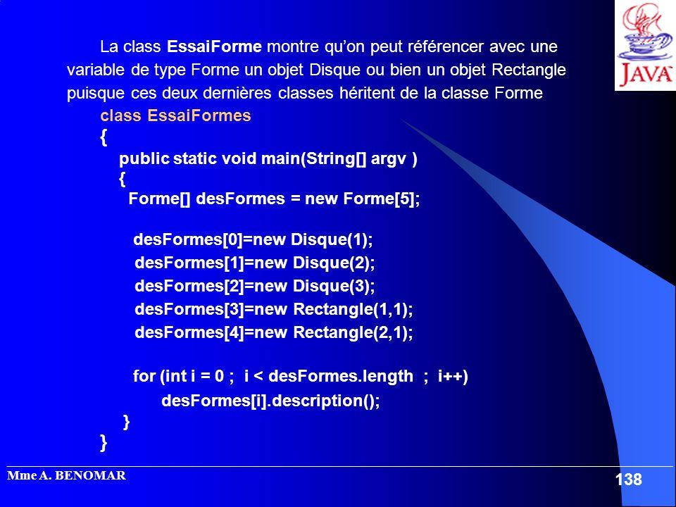 La class EssaiForme montre qu'on peut référencer avec une variable de type Forme un objet Disque ou bien un objet Rectangle puisque ces deux dernières classes héritent de la classe Forme