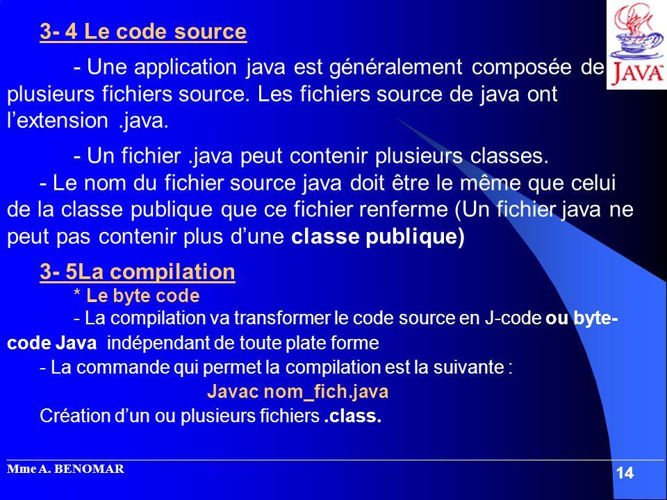 - Un fichier .java peut contenir plusieurs classes.