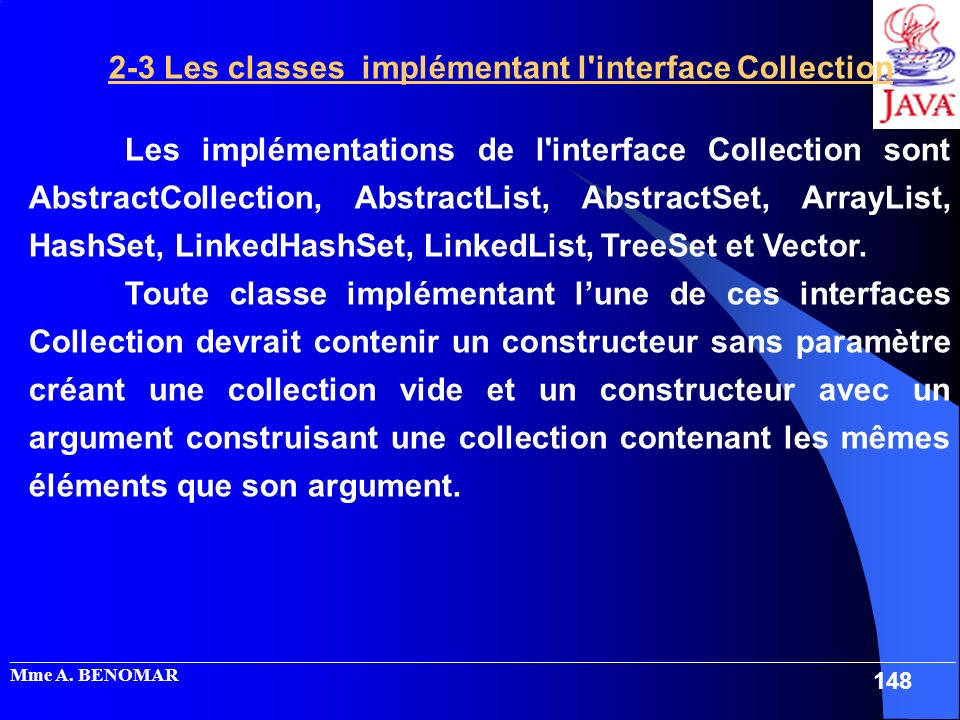 2-3 Les classes implémentant l interface Collection