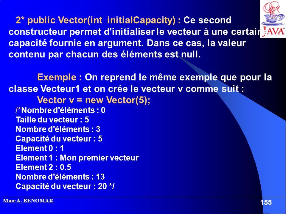 2* public Vector(int initialCapacity) : Ce second constructeur permet d initialiser le vecteur à une certaine capacité fournie en argument. Dans ce cas, la valeur contenu par chacun des éléments est null.