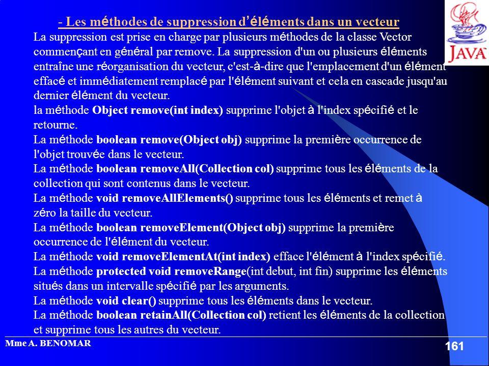 - Les méthodes de suppression d'éléments dans un vecteur