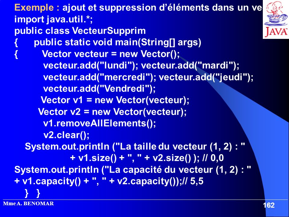 Exemple : ajout et suppression d'éléments dans un vecteur