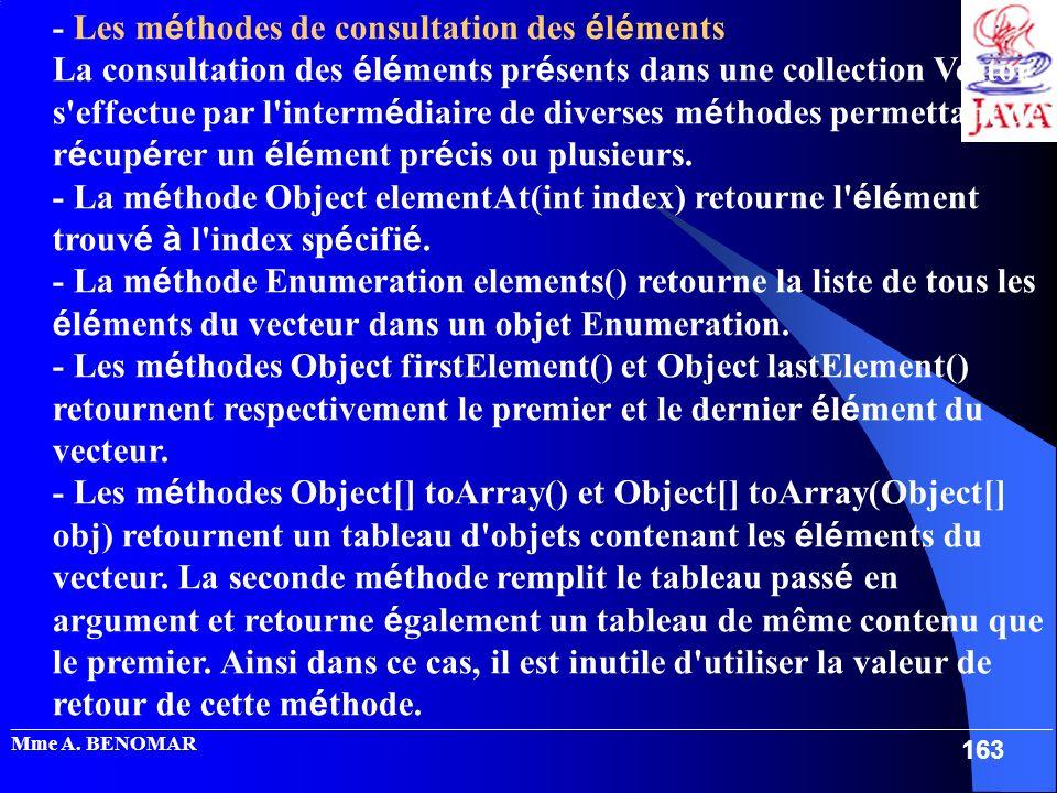 - Les méthodes de consultation des éléments