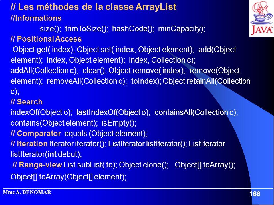 // Les méthodes de la classe ArrayList