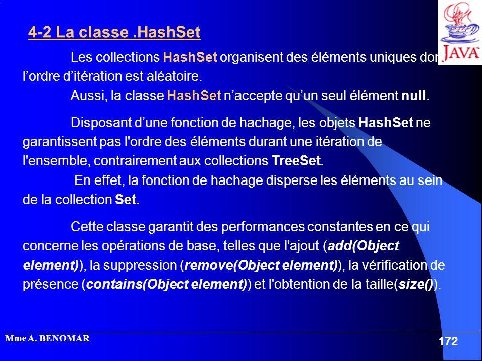 4-2 La classe .HashSet Les collections HashSet organisent des éléments uniques dont l'ordre d'itération est aléatoire.