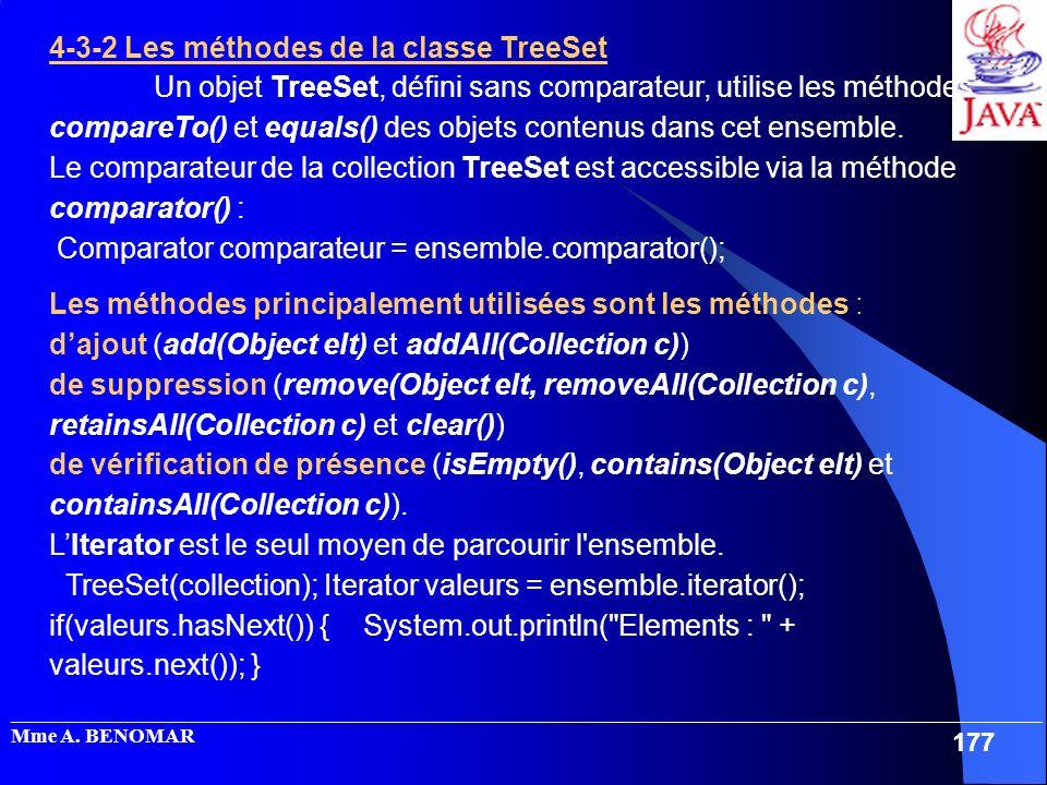 4-3-2 Les méthodes de la classe TreeSet