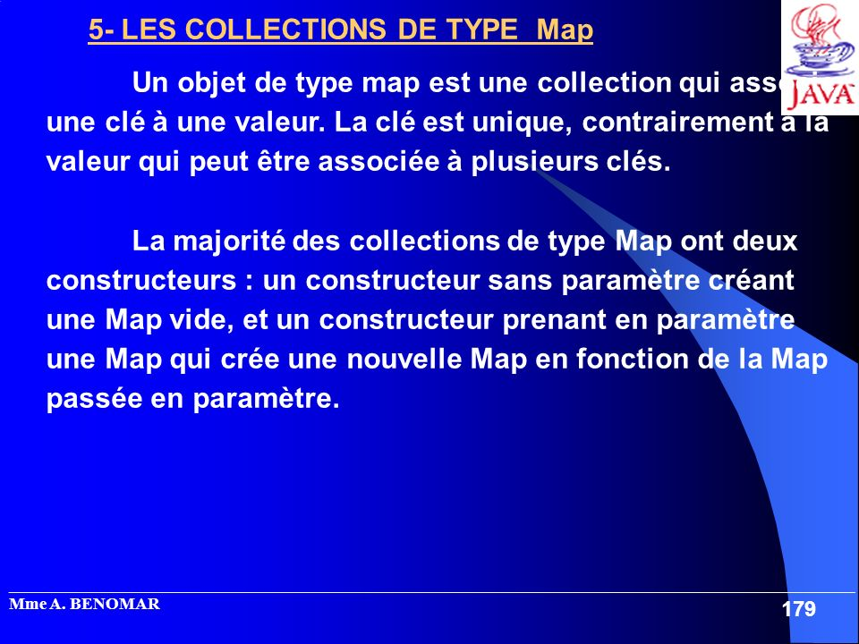 5- LES COLLECTIONS DE TYPE Map