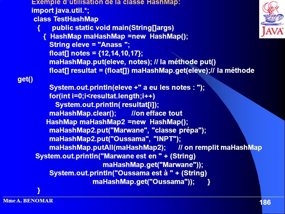 Exemple d'utilisation de la classe HashMap: import java.util.*;
