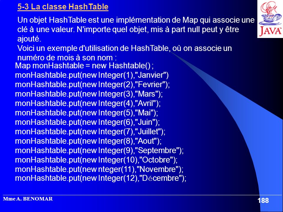 Map monHashtable = new Hashtable() ;