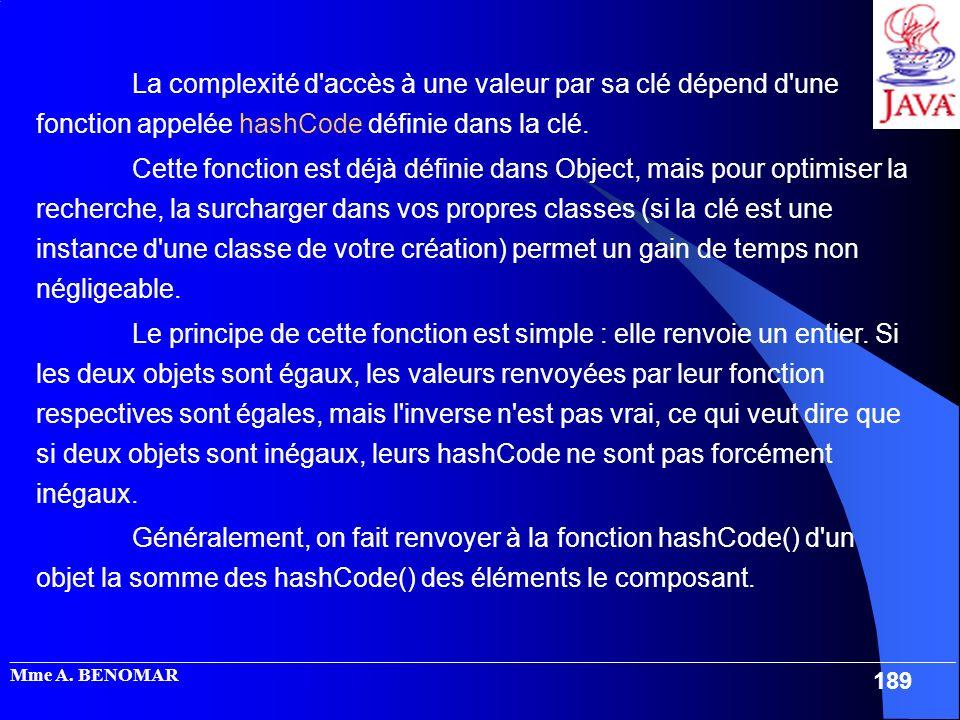 La complexité d accès à une valeur par sa clé dépend d une fonction appelée hashCode définie dans la clé.