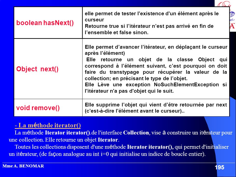 - La méthode iterator()