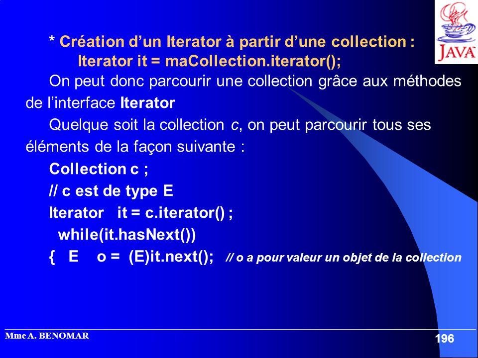 * Création d'un Iterator à partir d'une collection :