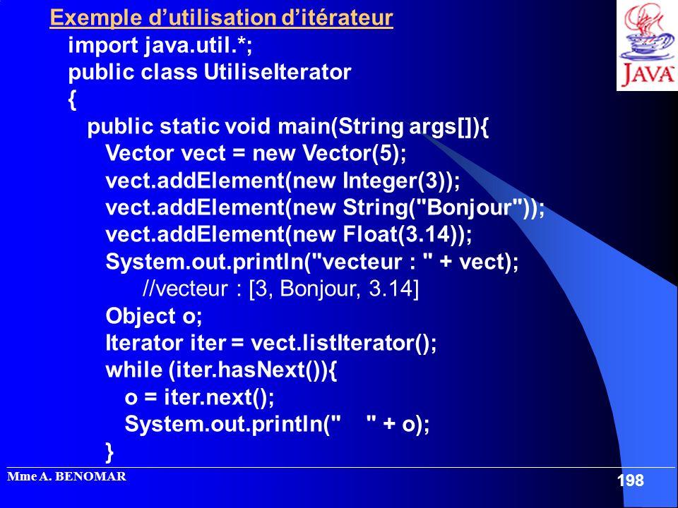 Exemple d'utilisation d'itérateur import java.util.*;