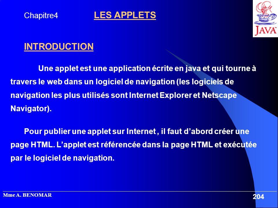 INTRODUCTION Chapitre4 LES APPLETS