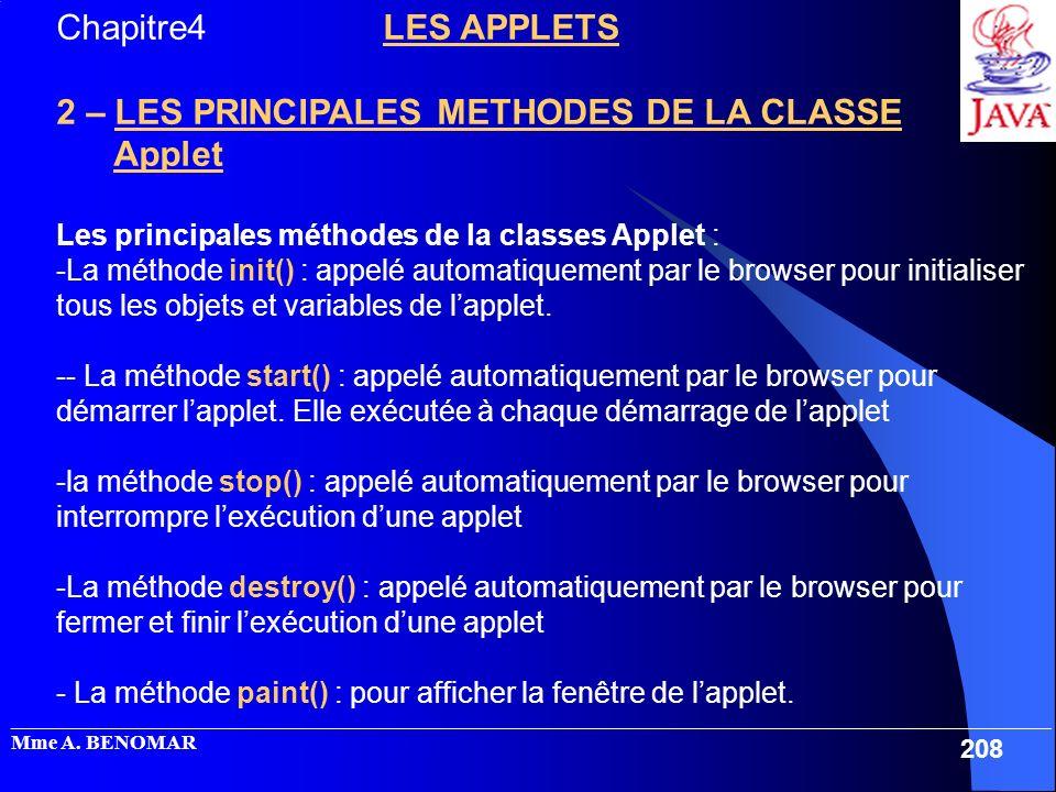 2 – LES PRINCIPALES METHODES DE LA CLASSE Applet