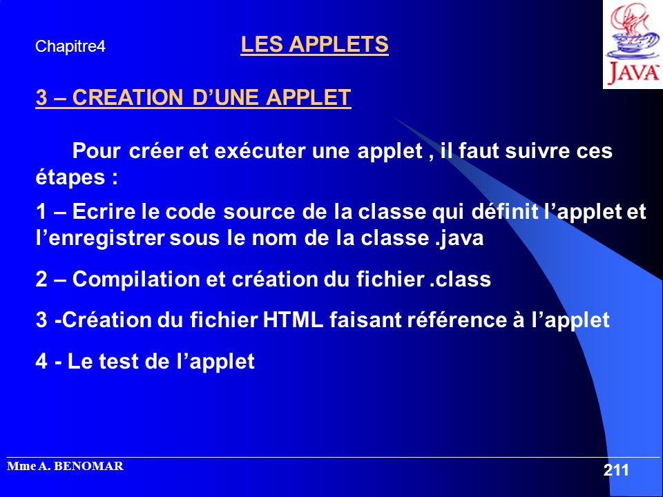3 – CREATION D'UNE APPLET