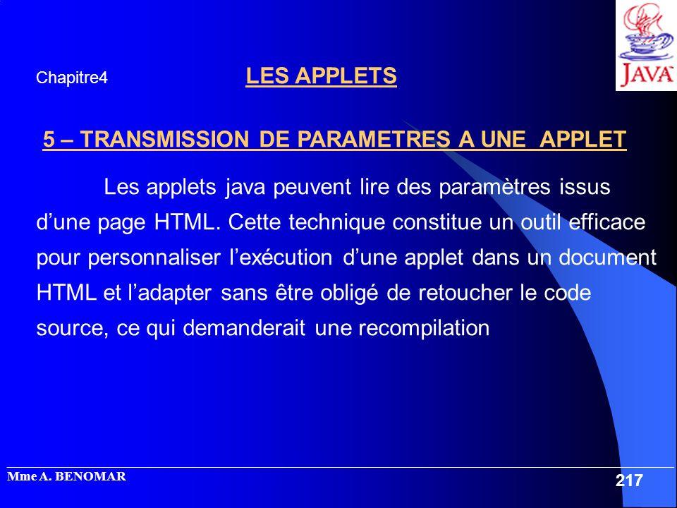 5 – TRANSMISSION DE PARAMETRES A UNE APPLET
