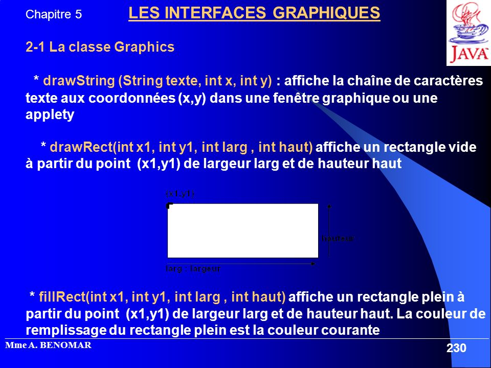Chapitre 5 LES INTERFACES GRAPHIQUES