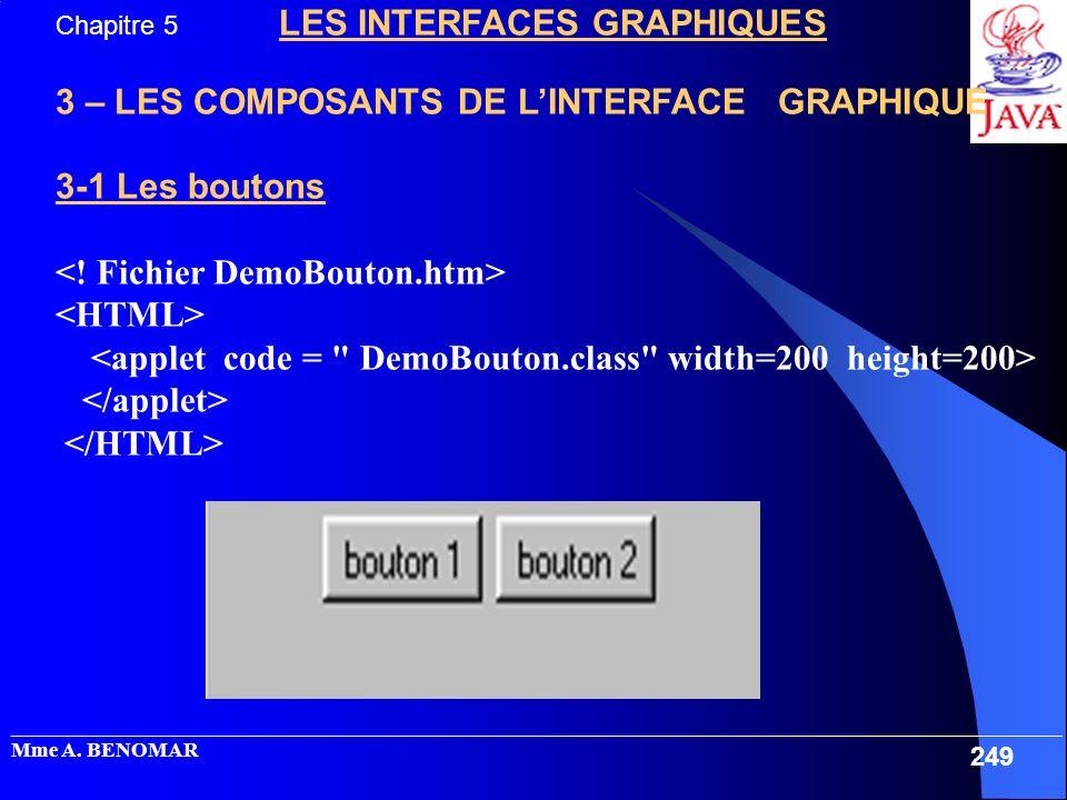 3 – LES COMPOSANTS DE L'INTERFACE GRAPHIQUE 3-1 Les boutons