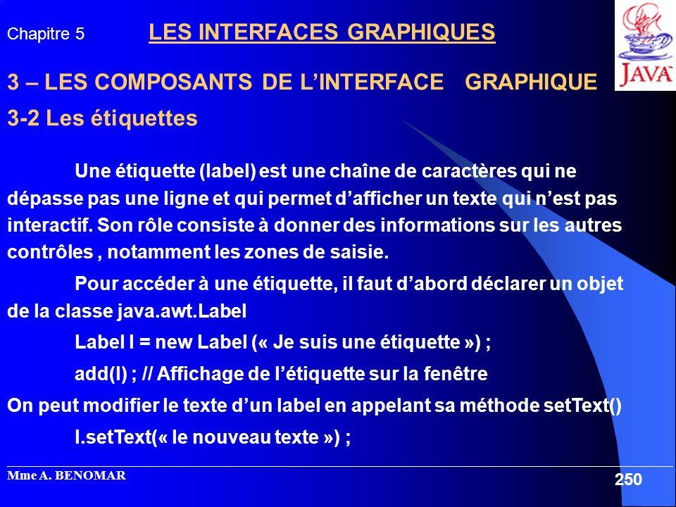 3 – LES COMPOSANTS DE L'INTERFACE GRAPHIQUE 3-2 Les étiquettes