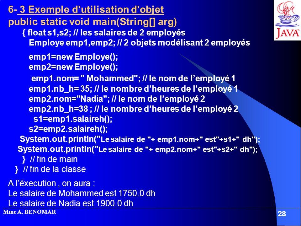 6- 3 Exemple d'utilisation d'objet