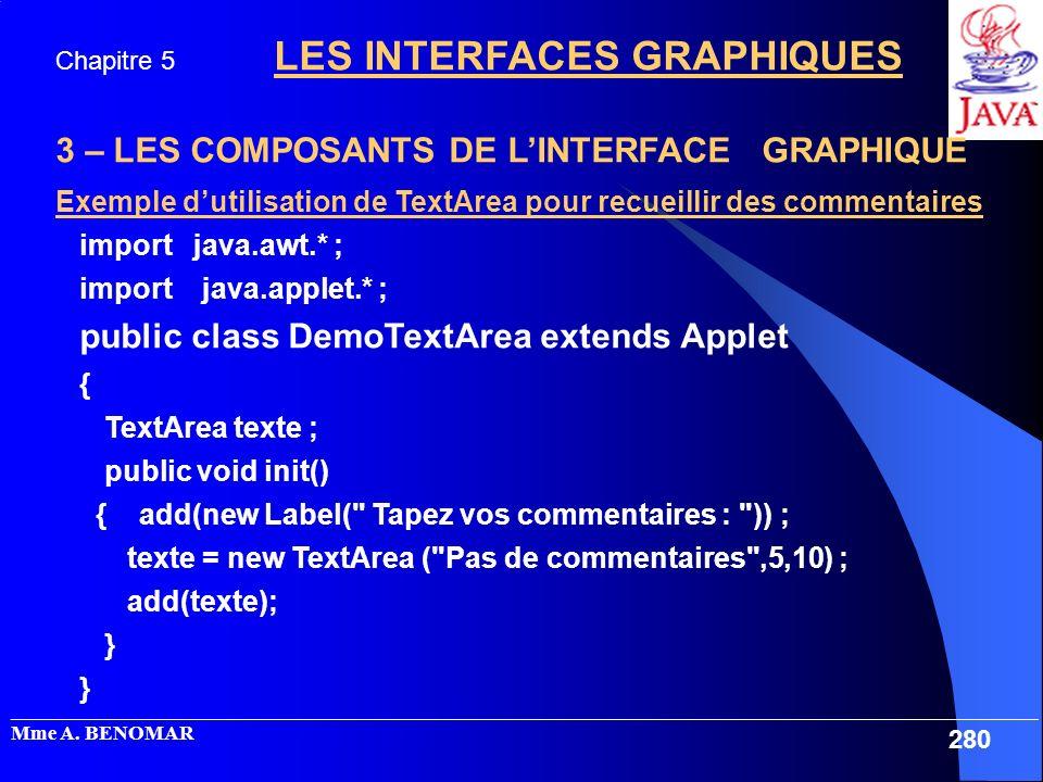 3 – LES COMPOSANTS DE L'INTERFACE GRAPHIQUE