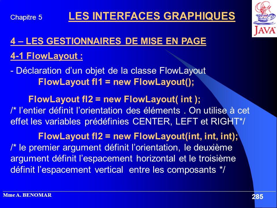 4 – LES GESTIONNAIRES DE MISE EN PAGE 4-1 FlowLayout :
