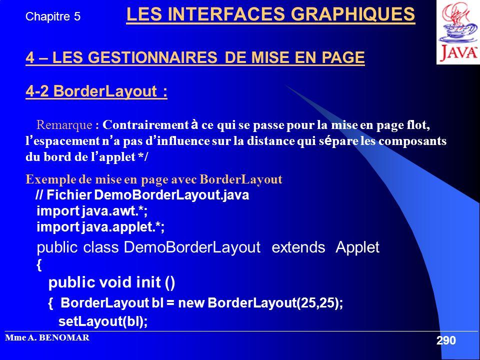 4 – LES GESTIONNAIRES DE MISE EN PAGE 4-2 BorderLayout :