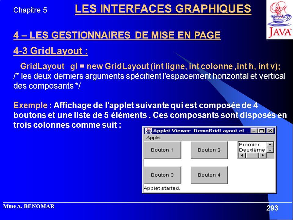 4 – LES GESTIONNAIRES DE MISE EN PAGE 4-3 GridLayout :