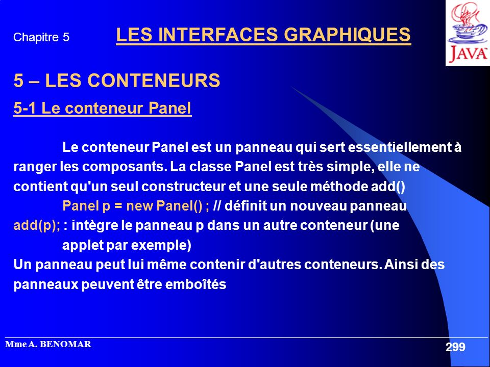 5 – LES CONTENEURS 5-1 Le conteneur Panel