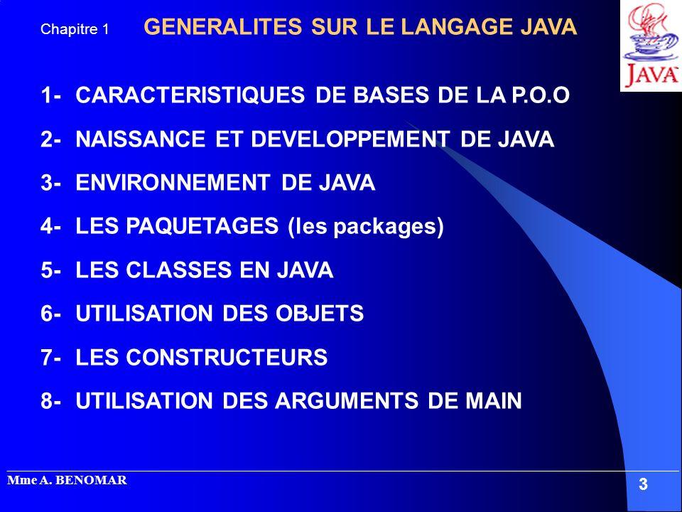 1- CARACTERISTIQUES DE BASES DE LA P.O.O