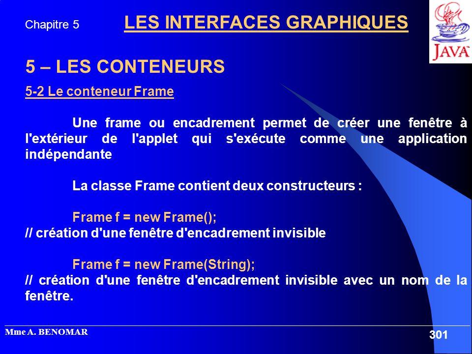 5 – LES CONTENEURS 5-2 Le conteneur Frame