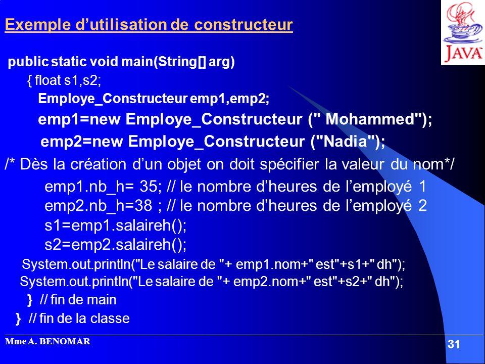 Exemple d'utilisation de constructeur