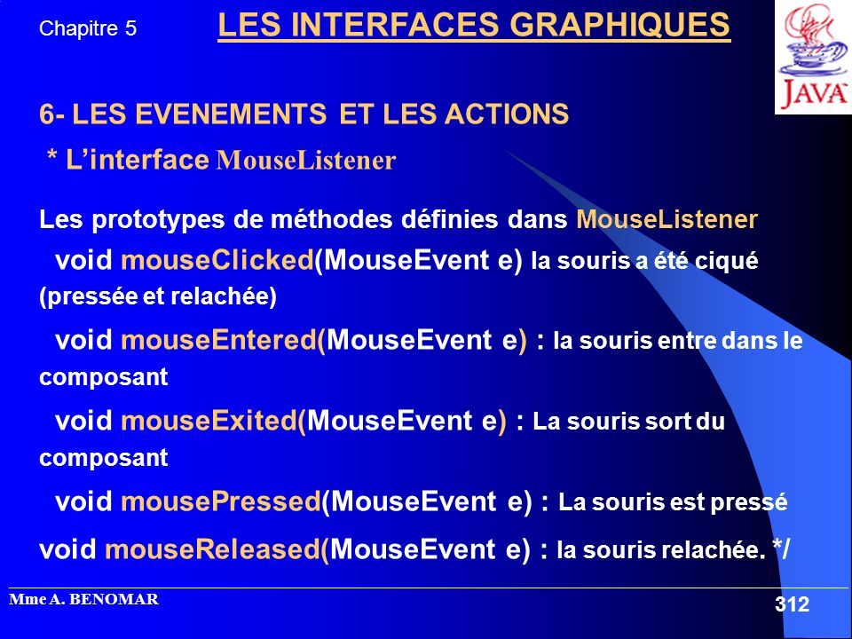 6- LES EVENEMENTS ET LES ACTIONS * L'interface MouseListener