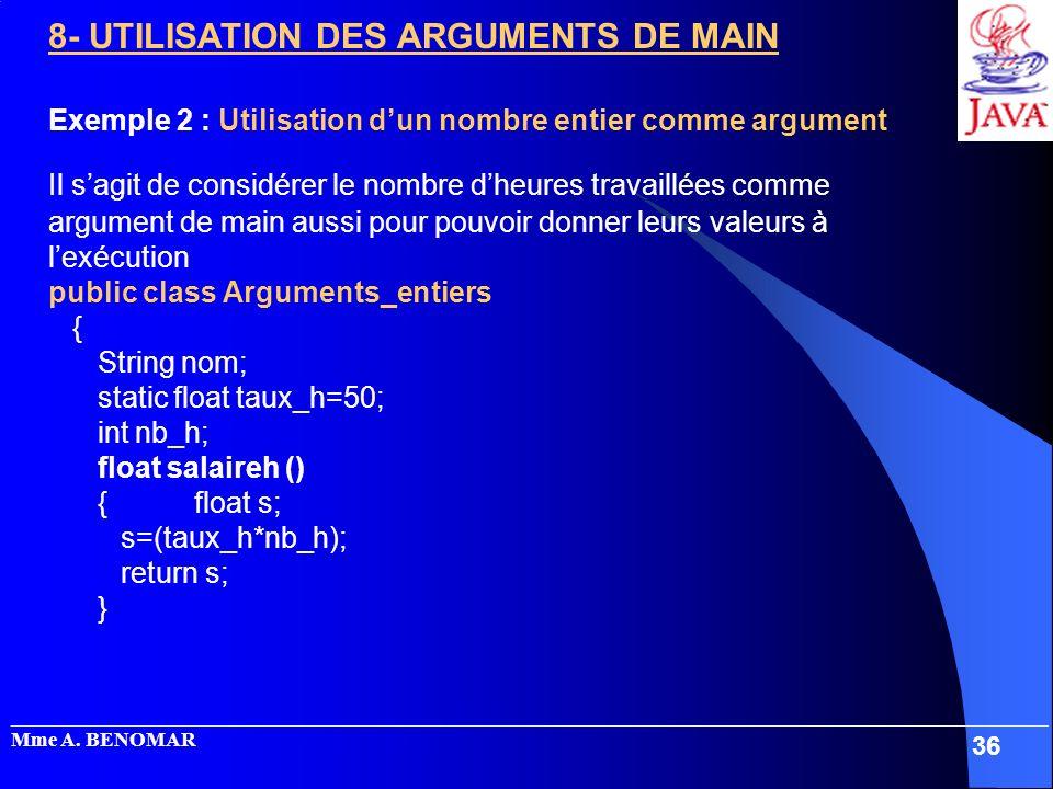8- UTILISATION DES ARGUMENTS DE MAIN