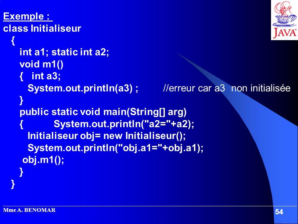 System.out.println(a3) ; //erreur car a3 non initialisée }