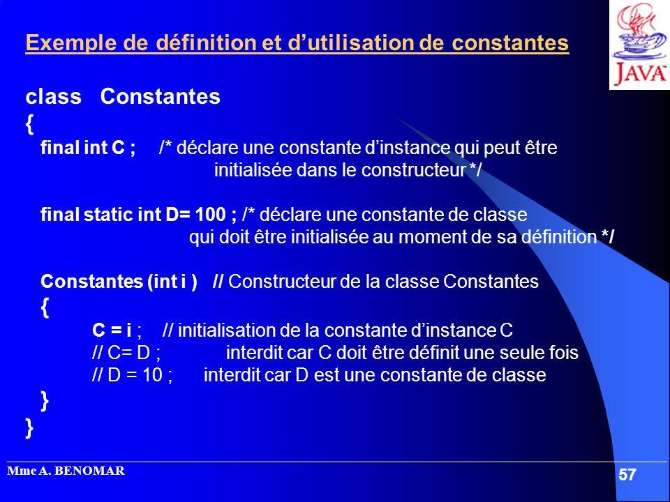 Exemple de définition et d'utilisation de constantes class Constantes