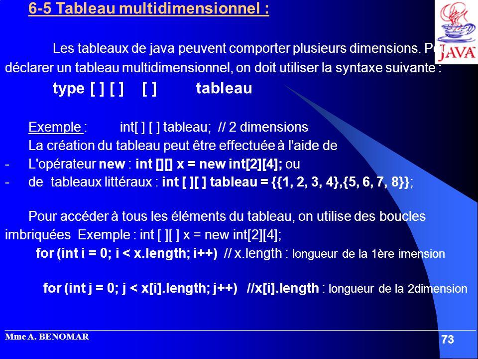 6-5 Tableau multidimensionnel :