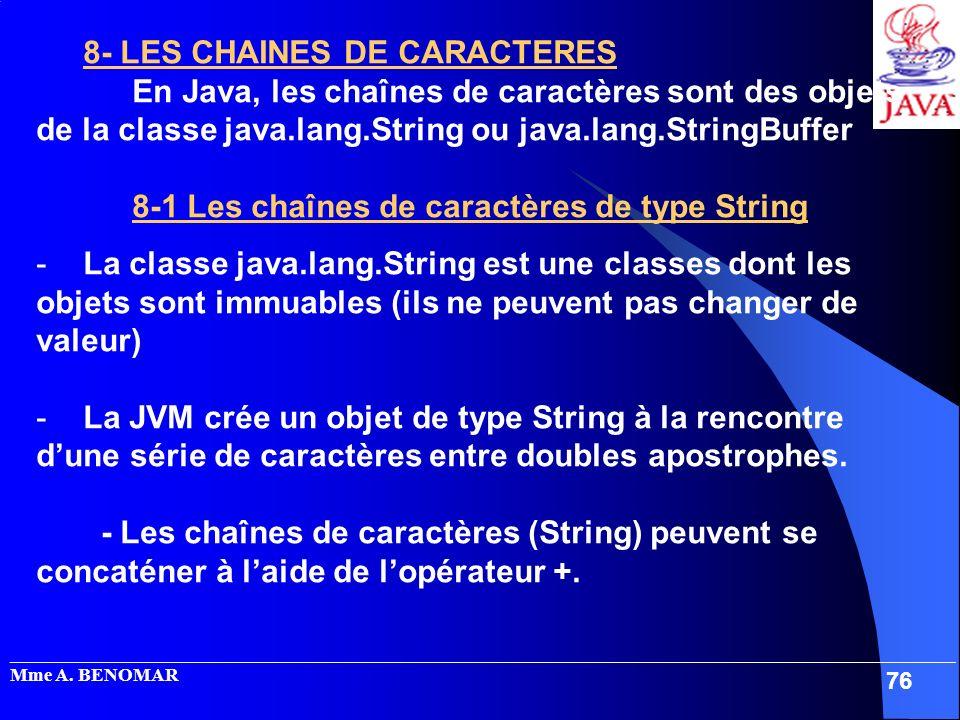 8- LES CHAINES DE CARACTERES