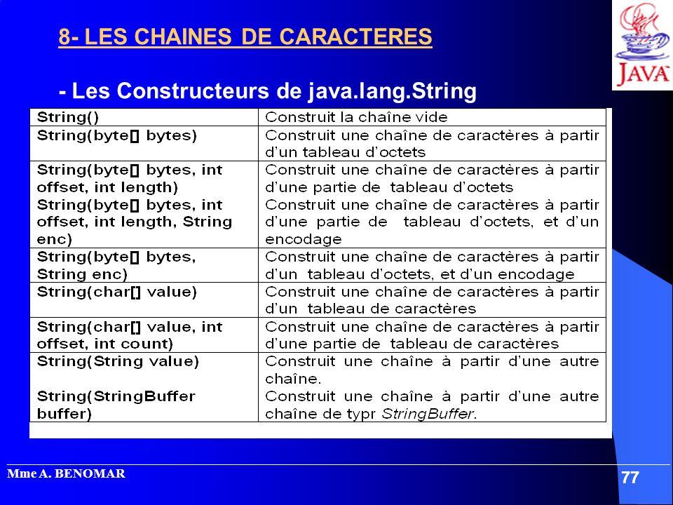 8- LES CHAINES DE CARACTERES - Les Constructeurs de java.lang.String