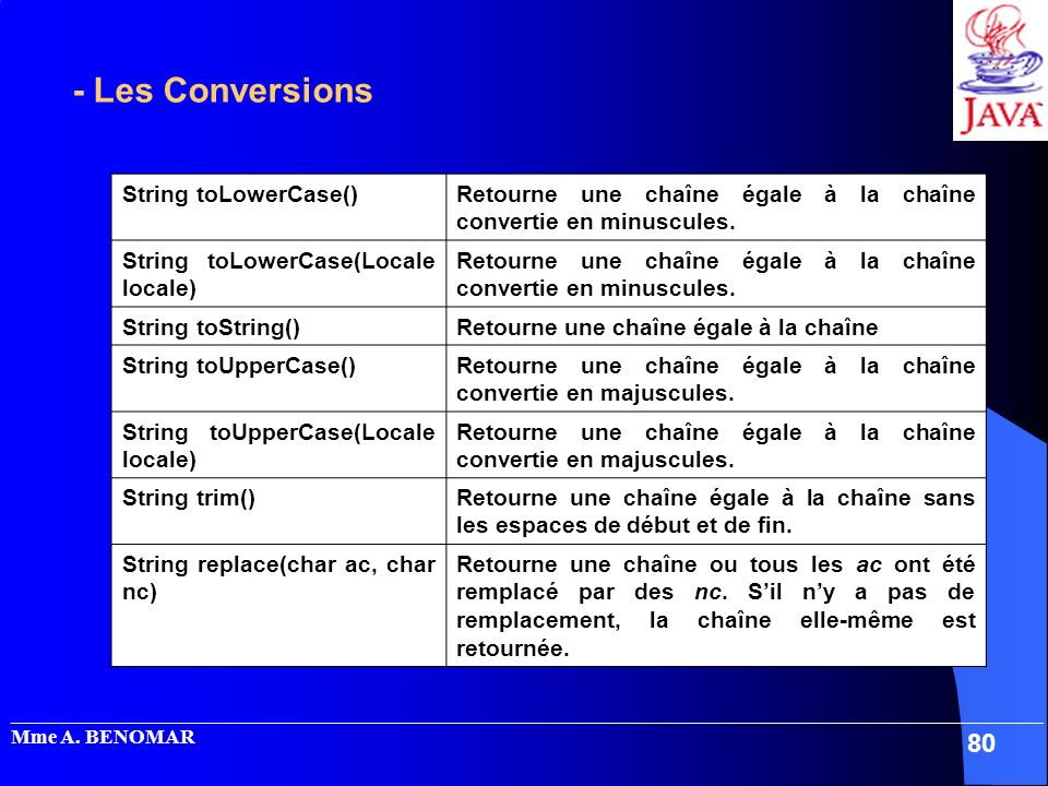 - Les Conversions String toLowerCase()